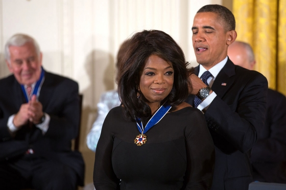 Oprah is awarded 2013 Presidential Medal of Freedom.