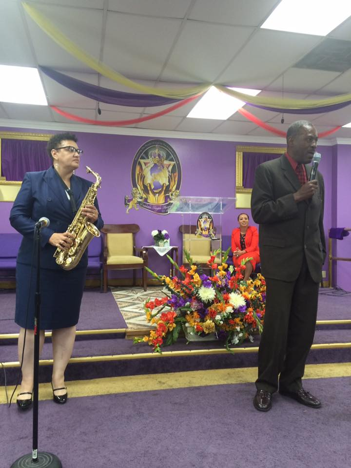 Ginger on Sax and Martin Cornwell lead praise and worship