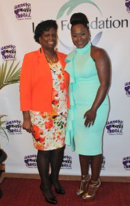 Pam Price, founder, The L.M. Foundation and Jessica Greene on red carpet