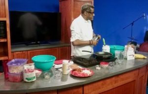 "James ""Jazzy"" Jordan cooking on the set at WVTR"