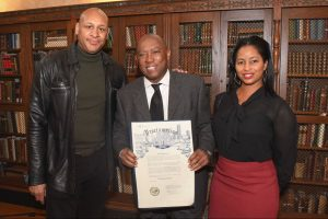 Brian Courtney Wilson and wife Stacey with Mayor Turner