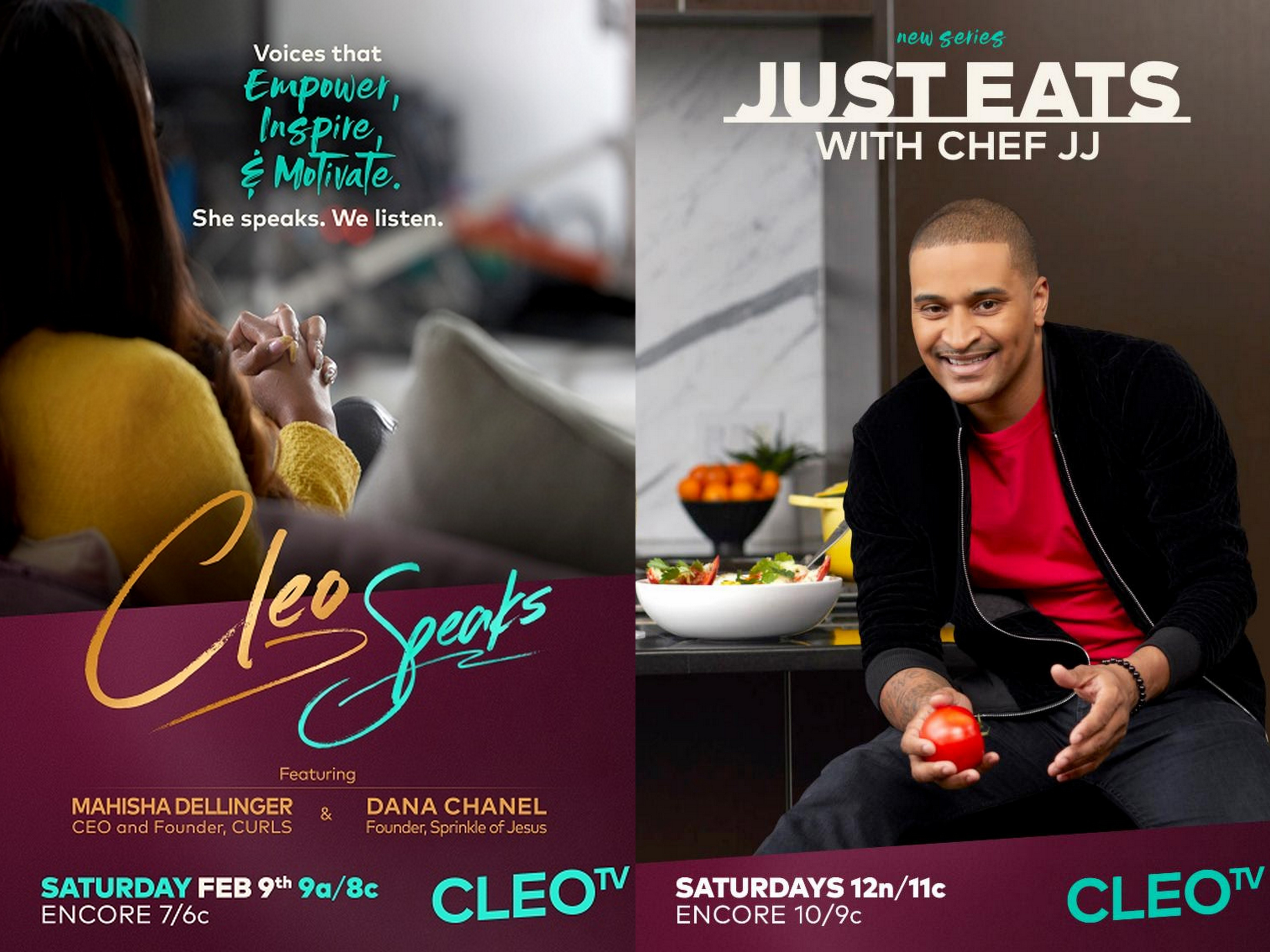 CLEO SPEAKS premieres this Saturday, followed by new episode of Just