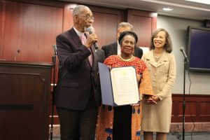 Congressman Bobby Rush speaks after being honored