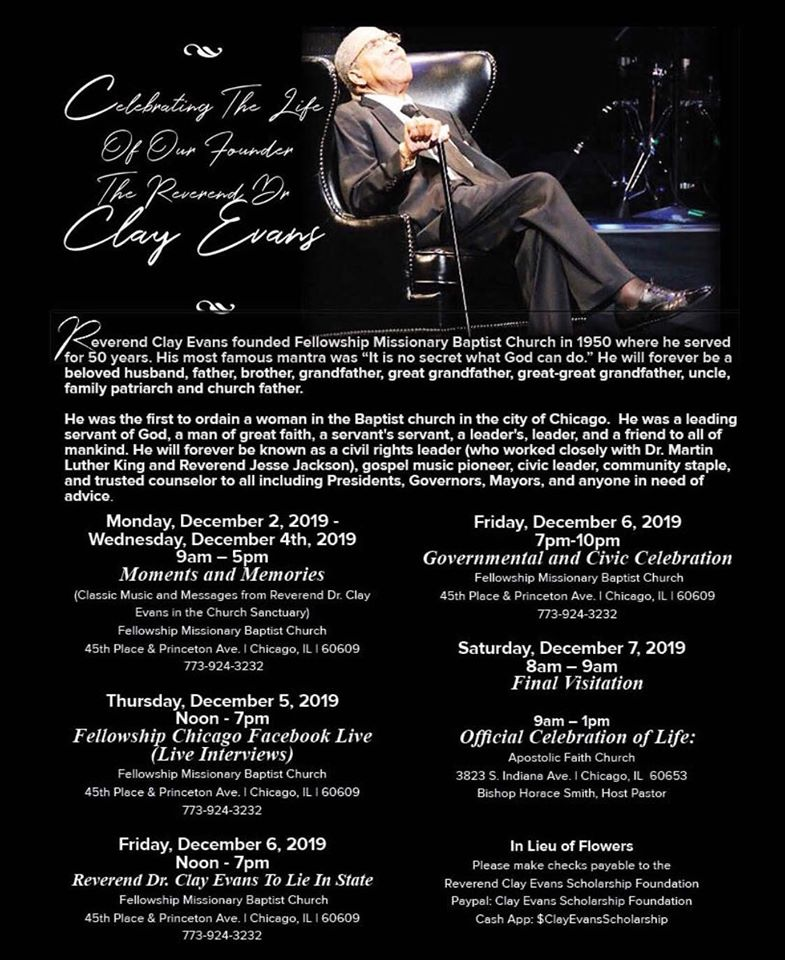 Reverend Clay Evans homegoing services