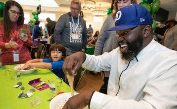 Darius Paulk enjoys some time with kids