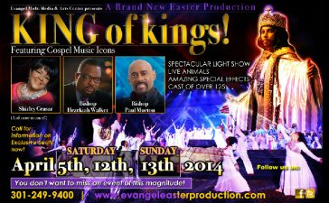 Kng of Kings production takes place at Evangel Cahedral